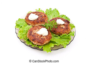 Cutlets with salad leaves