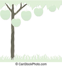 cutout apple tree and grass