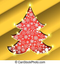 Christmas tree with golden border, snowflakes and sparkles