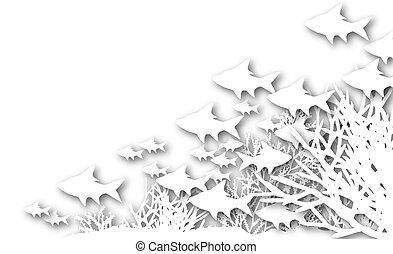 Cutout coral fish - Illustration of cutout fish and coral...