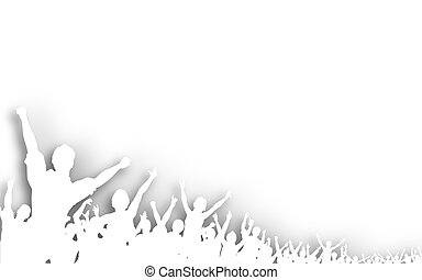 Cutout crowd - Illustration of a white cutout crowd...