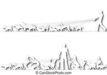 Cutout dog walker - Two foreground silhouettes of a man ...