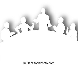 Cutout meeting - Illustrated silhouette of a business...