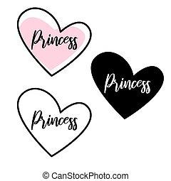 cutout, meisje, illustratie, lettering, design., vorm,...