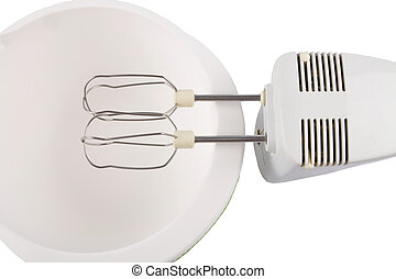 Cutout mixer and bowl on white background
