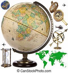 cutout, obects, -, globe, reizen