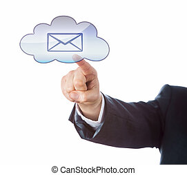 Cutout Of Arm Pointing At Email Icon In Cloud Key