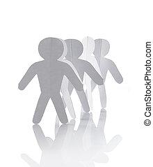 cutout, papel, grupo, corrente, pessoas