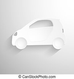 Cutout paper background. White Car sign icon. Hatchback symbol. Transport. Vector