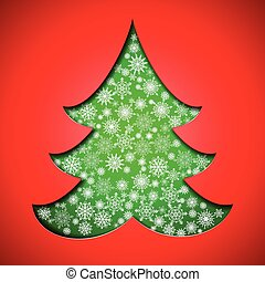 Cutout paper Christmas tree with snowflakes