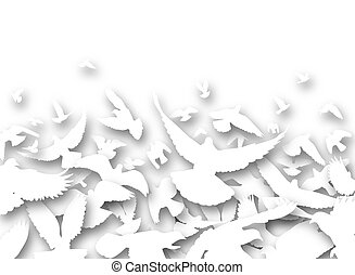 Cutout pigeons - Illustrated foreground of a flock of white...