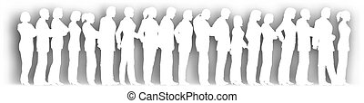 Cutout queue - Editable vector cutout of people standing in ...