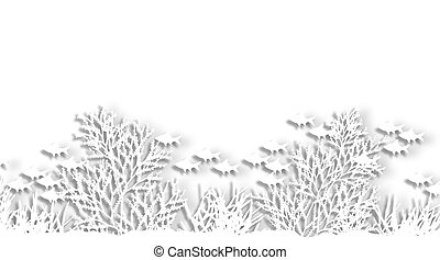 Cutout reef - Illustration of a sea coral silhouette...