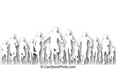 Illustration of cutout figures running a race