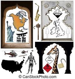 cutout, voorwerpen, -