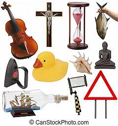cutout, voorwerpen, -, vrijstaand
