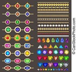 cuts., コレクション, ボーダー, ブレスレット, 金の宝石類, とても, デザイン, 鎖, 別, 石, イラスト, elements:, 色