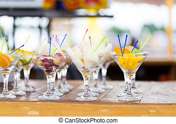 Cuts of fruits in glass for party