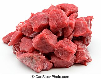 Cuts of meat cut into squares surrounded by white background