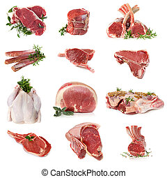 Cuts of Raw Meat - Cuts of raw meat, isolated on white....