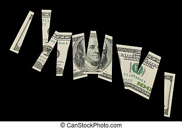 cutted, concept, financieel, banknote-, dollar