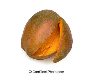 Cutted Mango fruit , natural look on white background