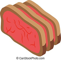 Cutted meat icon, isometric style