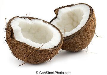 cutted, noix coco, fond blanc, moitié