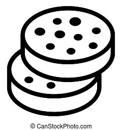 Cutted sausage icon. Outline cutted sausage icon for web design isolated on white background