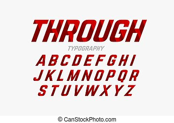 Cutted through font