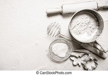 cutters., rouler, -, épingle, ingrédients, pâte cookie, farine, crible