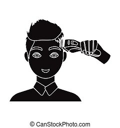 Cutting a boy with an electric typewriter in a hairdresser. Haircut single icon in black style vector symbol stock illustration web.
