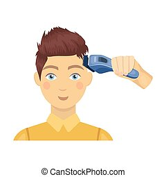 Cutting a boy with an electric typewriter in a hairdresser. Haircut single icon in cartoon style vector symbol stock illustration web.