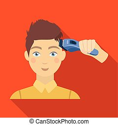 Cutting a boy with an electric typewriter in a hairdresser. Haircut single icon in flat style vector symbol stock illustration web.