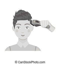 Cutting a boy with an electric typewriter in a hairdresser. Haircut single icon in monochrome style vector symbol stock illustration web.