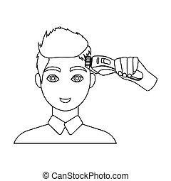 Cutting a boy with an electric typewriter in a hairdresser. Haircut single icon in outline style vector symbol stock illustration web.