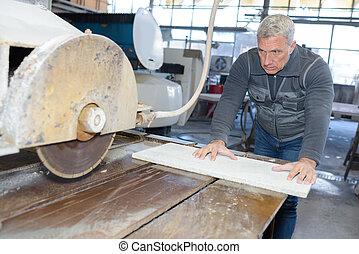cutting a ceramic tile