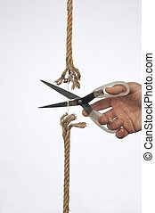 Cutting a rope - cutting a rope with a knife
