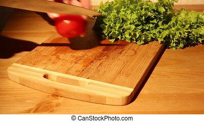 Cutting a tomato