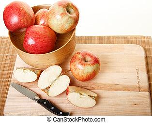 Cutting Apples on Wood Cutting Board