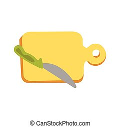 Cutting Board And A Knife With Green Handle Primitive Cartoon Icon, Part Of Pizza Cafe Series Of Clipart Illustrations