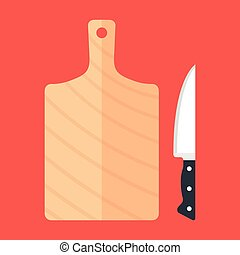 Cutting board and kitchen knife. Top view. Flat design. Vector illustration