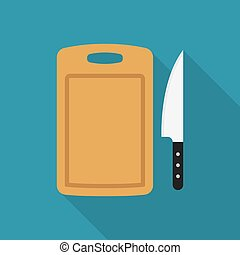 cutting board and knife