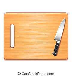Cutting board and knife isolated on white vector