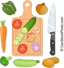 Cutting board and vegetables