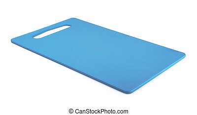 Blue plastic cutting board isolated on white