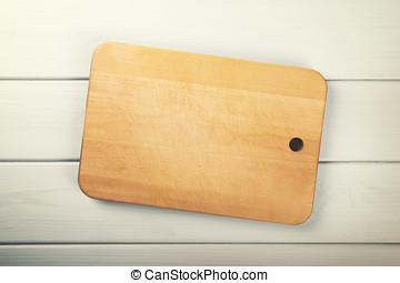cutting board on white wooden plank background