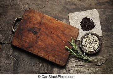 Cutting Board, rosemary and spices