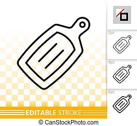 Cutting Board simple black line vector icon - Cutting board...