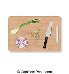 cutting board with a sharp knife to cut. Isolated illustration.